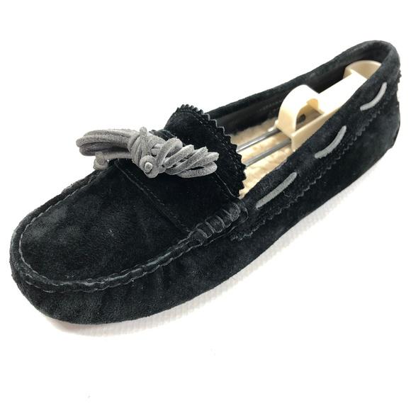 301d3f4d386 UGG Meena 7.5 Moccasins Sheepskin Suede Black